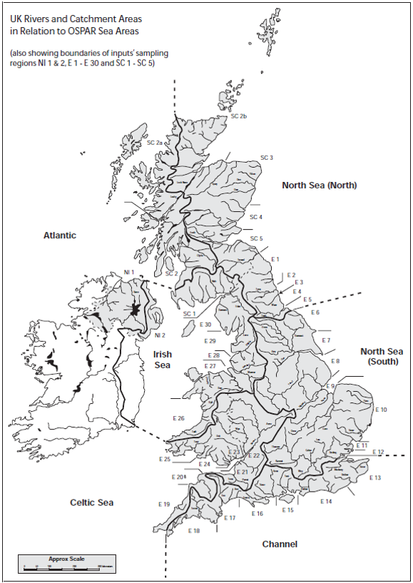 Paris Commission river catchment areas (NI1 & 2, E1-E30, SC1-SC5), which broadly relate to UK regional seas (sub-regions) in the Greater North Sea (OSPAR Region II) and the Celtic Seas (OSPAR Region III).
